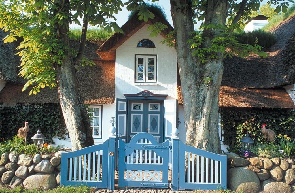 Klassisch: von Baeumen eingerahmter Friesenhauseingang