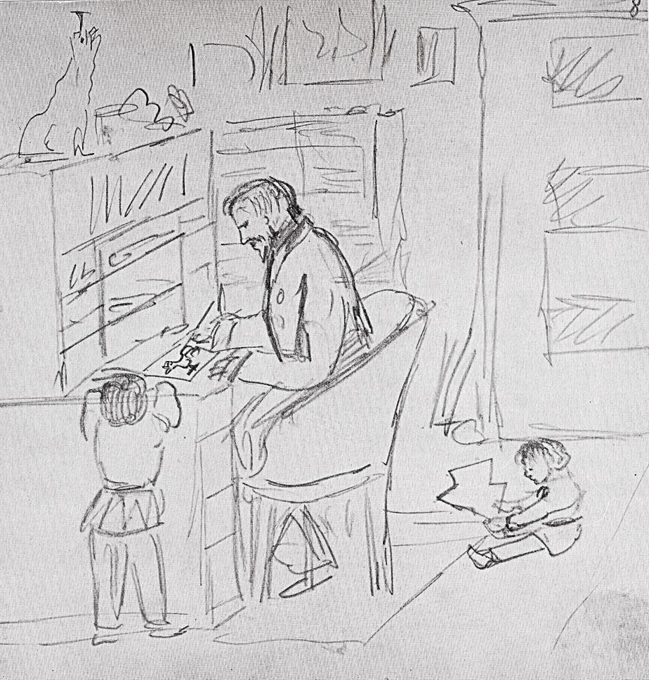Heinrich Hoffmann Selbstbild mit Enkeln