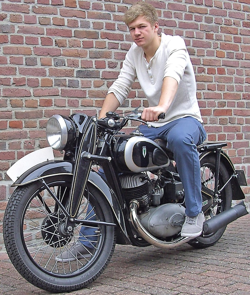 Teenager mit eigenem Oldtimer: Yannick Otten und seine DKW NZ 350.